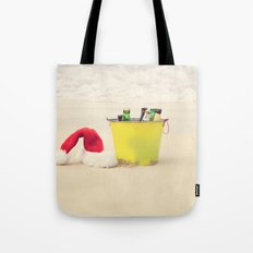 Santa Hat and Beach Beverage Tote Bag