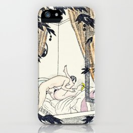 vintage hand colored nudes woman man love making window iPhone Case