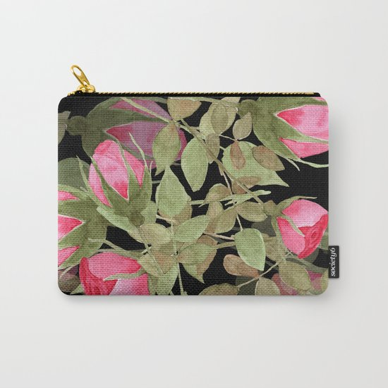 The buds of tender roses on a black background . Retro . Carry-All Pouch