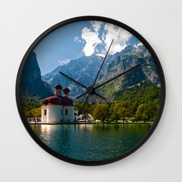 Outdoors, Church, Alps Mountains, Koenigssee Lake on #Society6 Wall Clock
