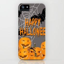 Pumpkins Happy Halloween Illustration iPhone Case