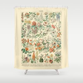 Wildflowers and Roses // Fleurs III by Adolphe Millot 19th Century Science Textbook Artwork Shower Curtain