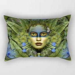 """""""Tropical green and indigo jungle Woman"""" Rectangular Pillow"""