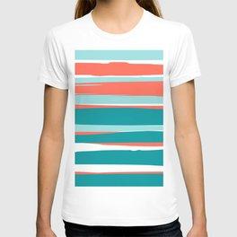 Colorful Stripes, Coral, Teal and Aqua T-shirt