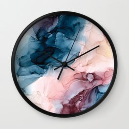 Pastel Plum, Deep Blue, Blush and Gold Abstract Painting Wall Clock