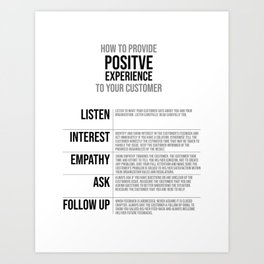 Provide Positive Experience To Your Customer, Office Decor Ideas, Wall Art Art Print