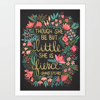 paper Art Prints featuring Little & Fierce on Charcoal by Cat Coquillette