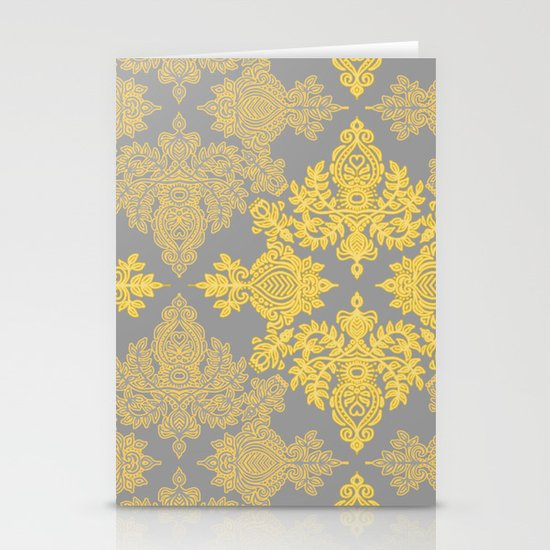 Golden Folk - doodle pattern in yellow & grey Stationery Cards
