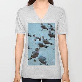 Beach Birds Blue Unisex V-Neck