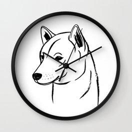 Shiba Inu (Black and White) Wall Clock