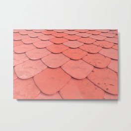 Pattern of red rounded roof tiles Metal Print