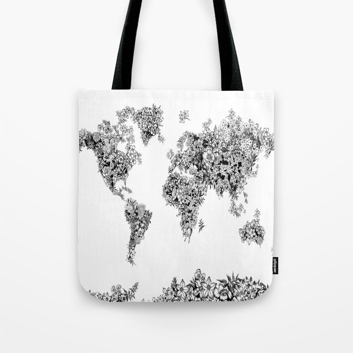 floral world map black and white Tote Bag