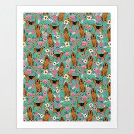 Bloodhound floral dog breed dog pattern pet friendly pet portraits custom dog gifts mint Art Print