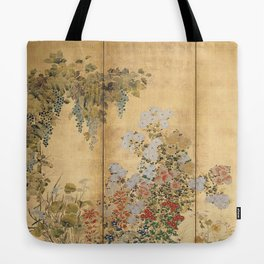 Japanese Edo Period Six-Panel Gold Leaf Screen - Spring and Autumn Flowers Tote Bag