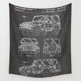Jeep Wrangler Patent - Jeep Art - Black Chalkboard Wall Tapestry