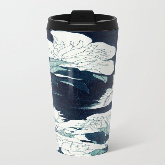 JAPANESE FLOWERS Midnight Blue Teal Metal Travel Mug