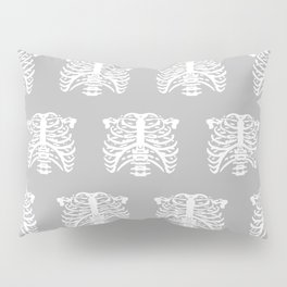 Human Rib Cage Pattern Gray Pillow Sham