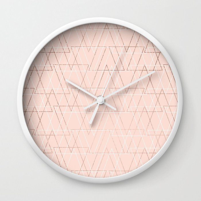 Modern White Rose Gold Abstract Geometric Triangles On Blush Pink Wall Clock By Ytrend Society6