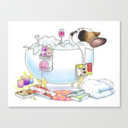 French Bulldog in the Tub Canvas Print