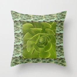 COLLAGE GRAY-GREEN  SUCCULENTS  MODERN DESIGN Throw Pillow