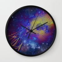 pocket fuel Wall Clocks featuring Fuel Trails by AbstractAnomaly