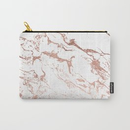 Modern chic faux rose gold white marble pattern Carry-All Pouch