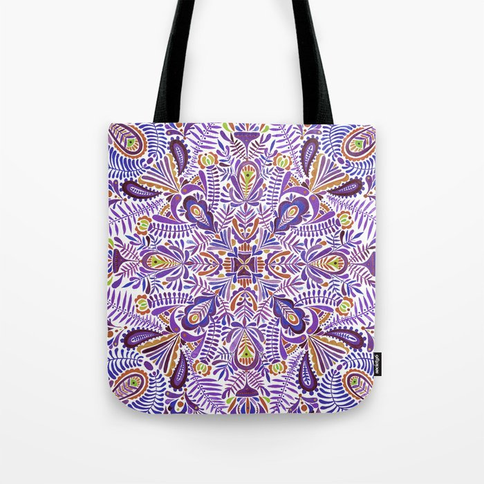 Gloomy purple mandala pattern Tote Bag