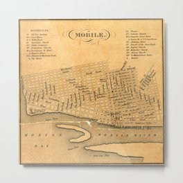 Vintage Map of Mobile Alabama (1840) Metal Print