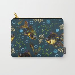 Colorful Black Moor Goldfish Pattern Carry-All Pouch