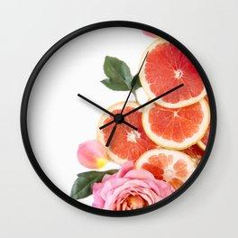 Grapefruit & Roses 04 Wall Clock