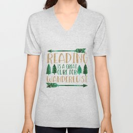 Reading is a Great Cure for Wanderlust (Green/Brown) Unisex V-Neck