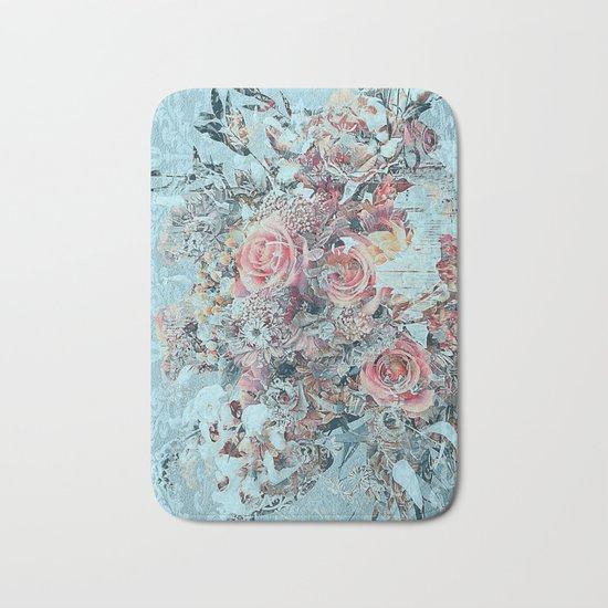 Lush vintage floral pastel wood panel Bath Mat