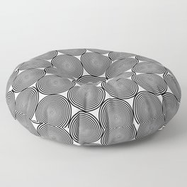Hypnotic Black and White Circle Pattern - Digital Illustration - Graphic Design Floor Pillow