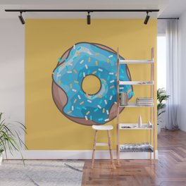 Blue Donut on Yellow Background Wall Mural