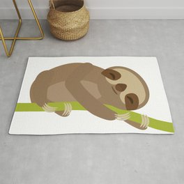 funny and cute Three-toed sloth on green branch Rug