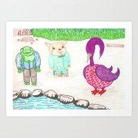 Frog, Hamster, Bird Art Print