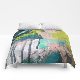 Melt: a vibrant abstract mixed media piece in blues, greens, pink, and white Comforters