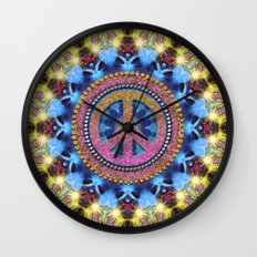 Groovy Hippie Love Mandala Wall Clock