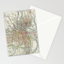 Vintage Map of Kansas City Missouri (1920) Stationery Cards