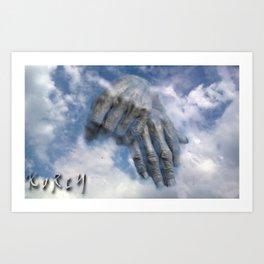 In the sky, hands Art Print