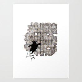 bricklayer bear Art Print
