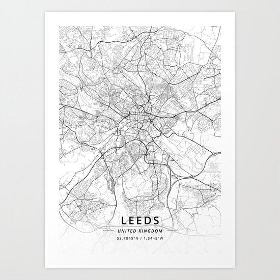Leeds, United Kingdom - Light Map by designermapart
