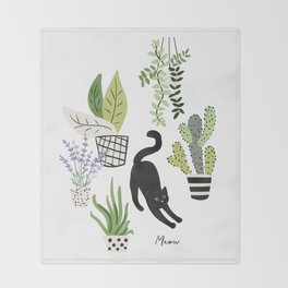 Black cat and plants in the pots. Morning stretch Throw Blanket