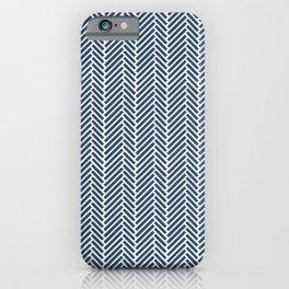 Herringbone Navy Blue iPhone Case
