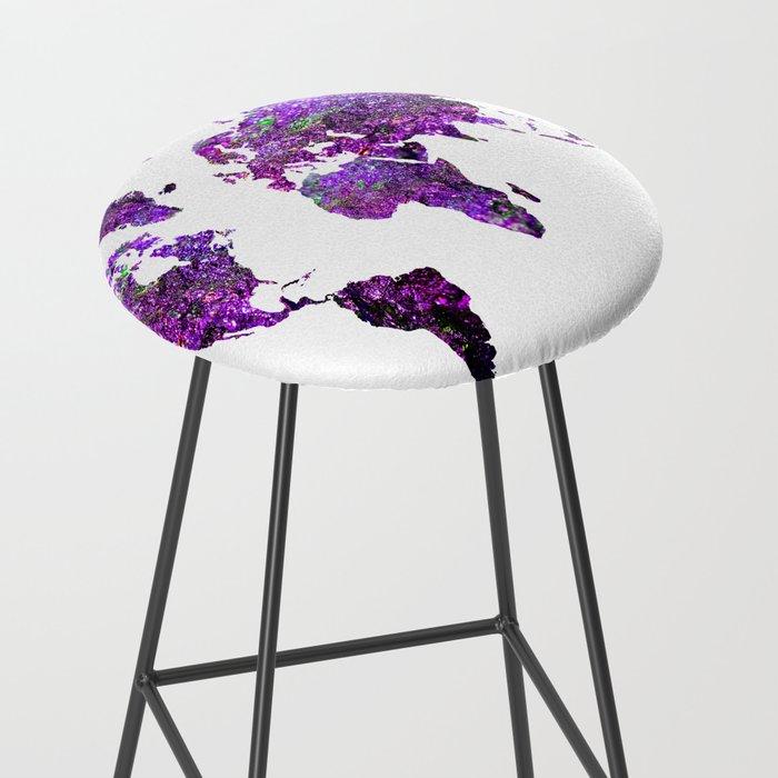 Purple World Map Bar Stool