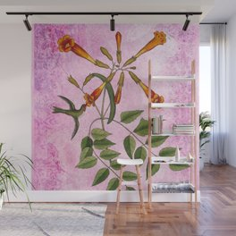 Hummingbird with Trumpet Vine, Vintage Natural History Collage Wall Mural