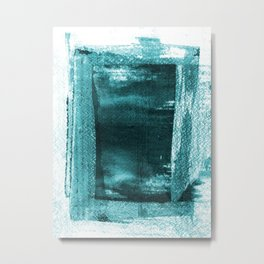 Turquoise Blue Rectangle Abstract Watercolor Painting Metal Print