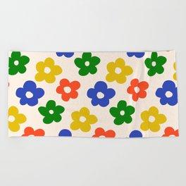Retro Pattern Primary Rainbow Flowers #pattern #floral #vintage Beach Towel