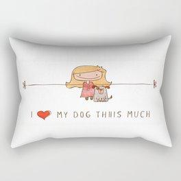 I love my dog girl Rectangular Pillow