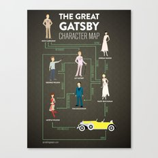 The Great Gatsby Character Map Canvas Print